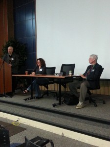 David Hartwell (seated right) with Chris Szego and Robert J Sawyer at SF Academic Conference Sept 14 2013